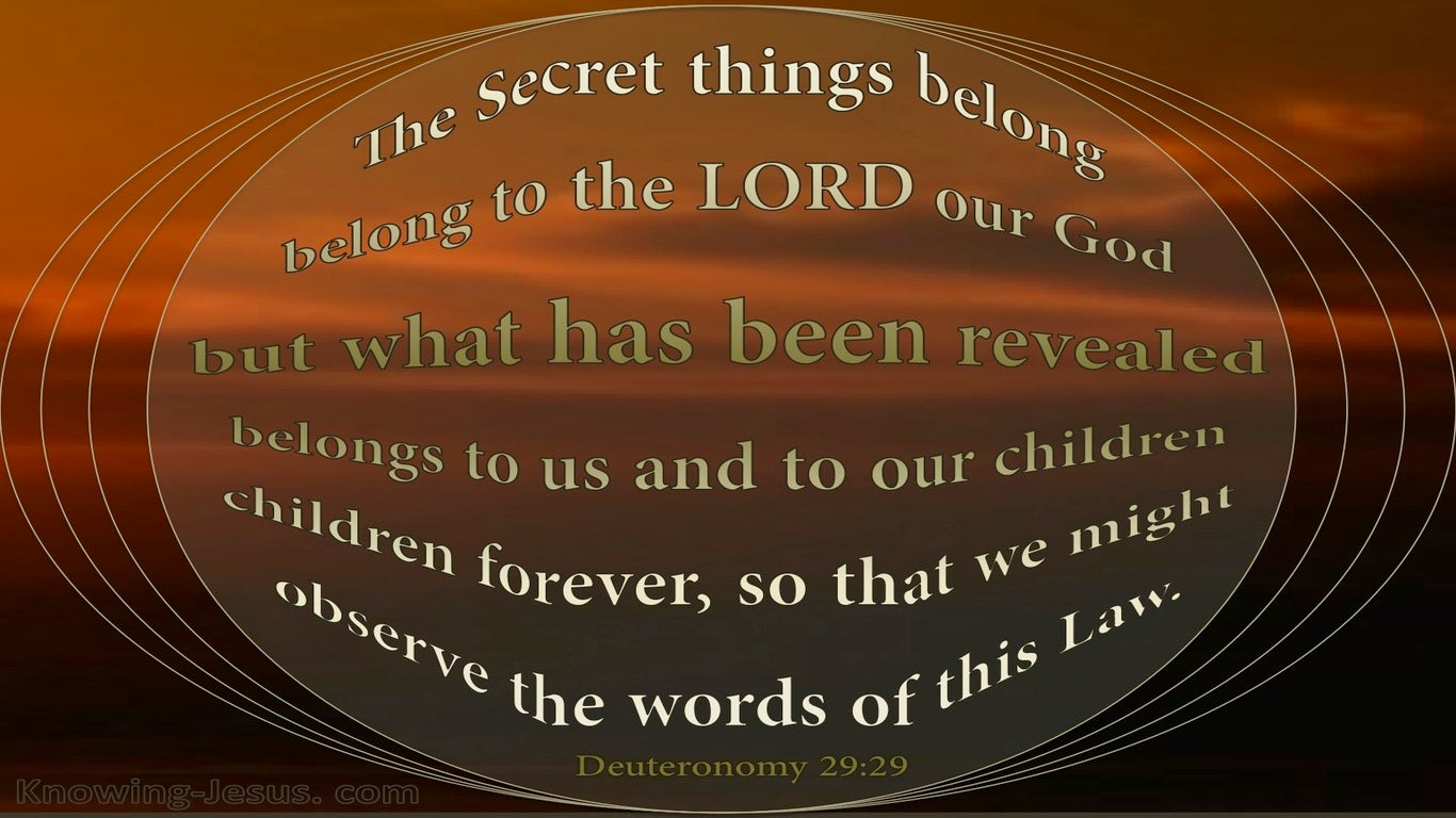 Deuteronomy 29:29 The Secret Things Of God (brown)