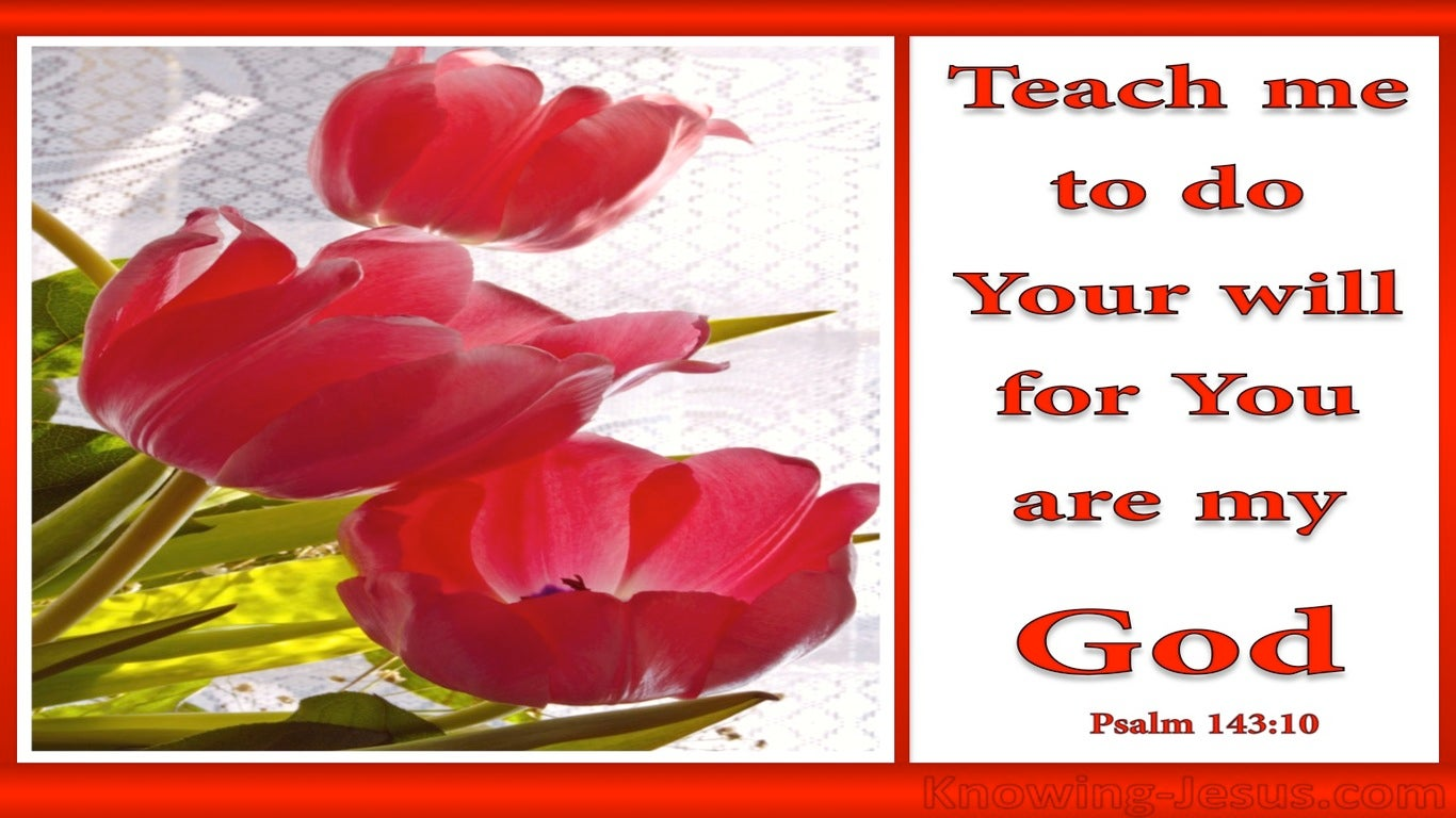 Psalm 143:10 Teach Me To Do Your Will (red)