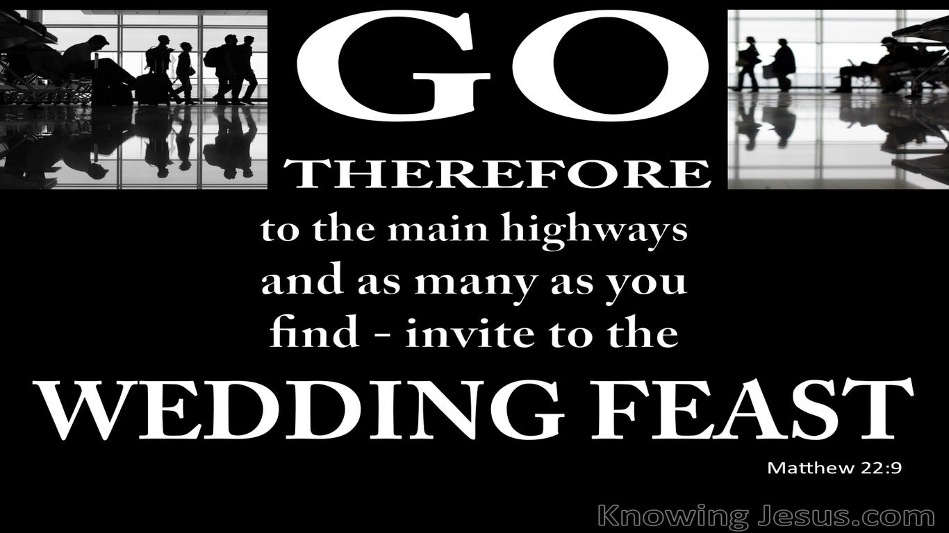 Matthew 22:9 Invitation To The Wedding Feast (white)
