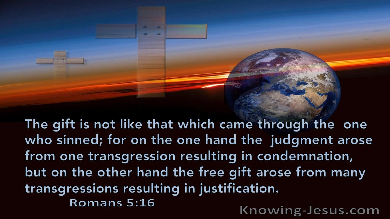 Romans 5:16  The Free Gift Resulting In Justification (black)