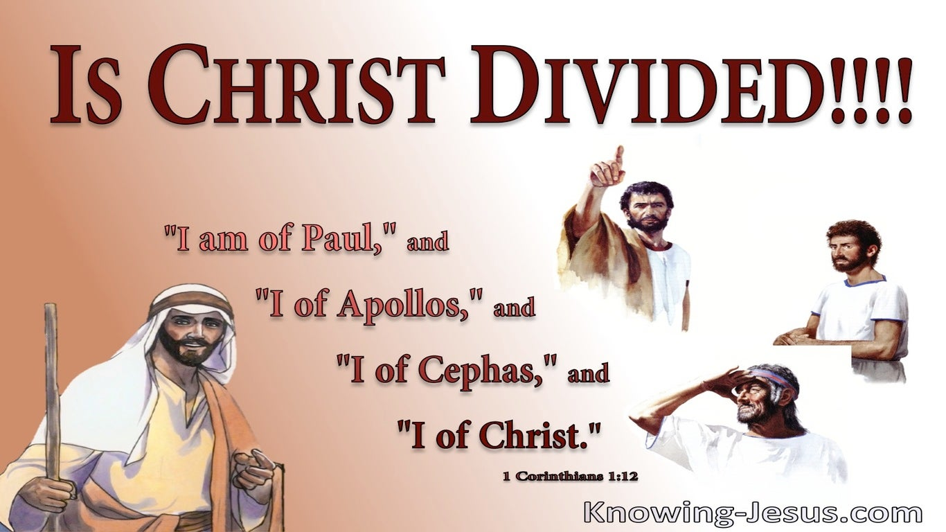 1 Corinthians 1:12 Each Is Saying I Am Of Paul, Appolos, Cephas And Christ (brown)