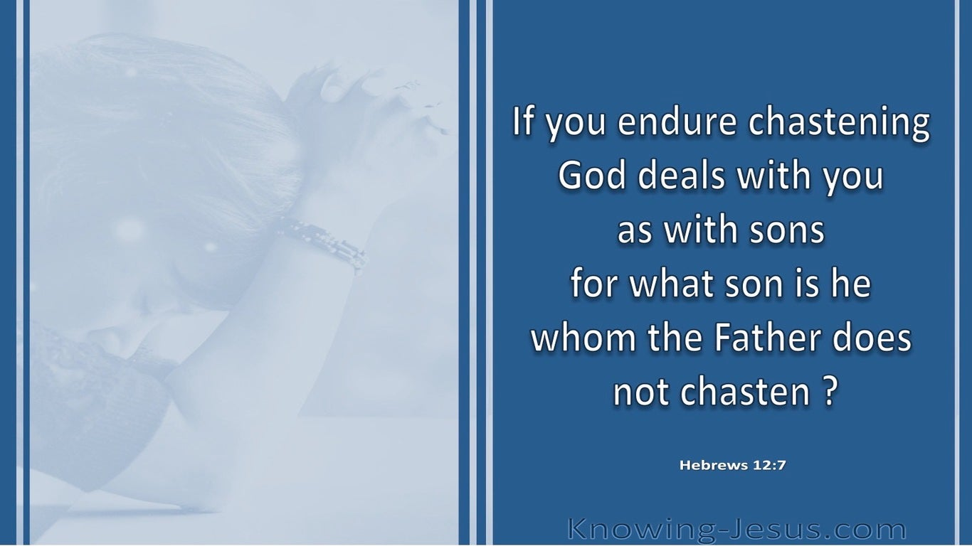 Hebrews 12:7 God Deals With You As Sons (blue)