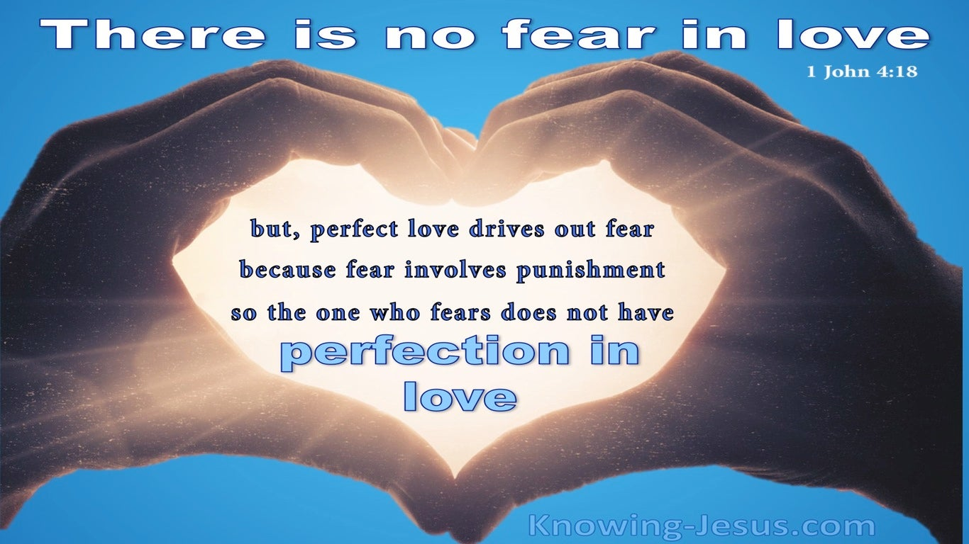 1 John 4:18 There Is No Fear In Love (blue)