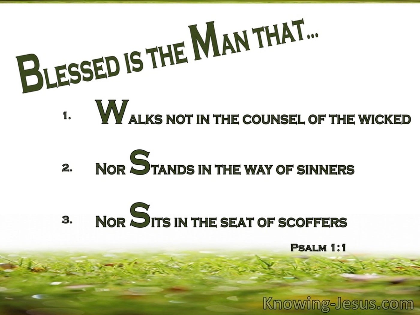 Psalm 1:1 Blessed Is The Man (white)