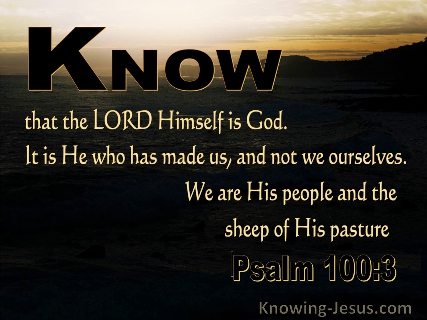 Psalm 100:3 Know That The Lord Is God (black)