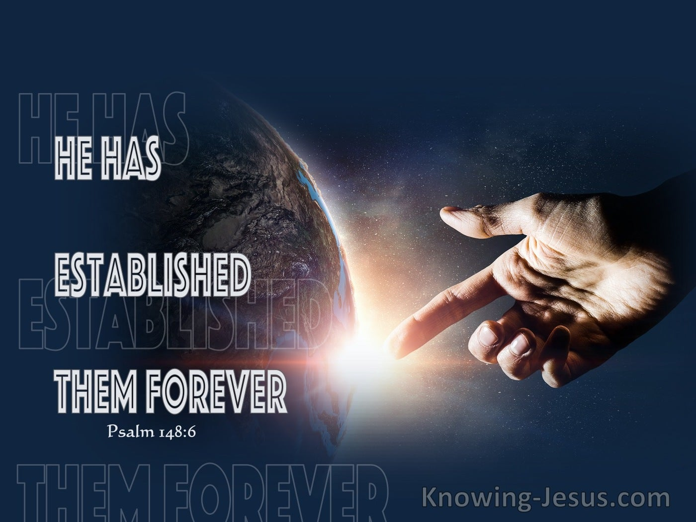 Psalm 148:6 He Has Also Established Them Forever (navy)