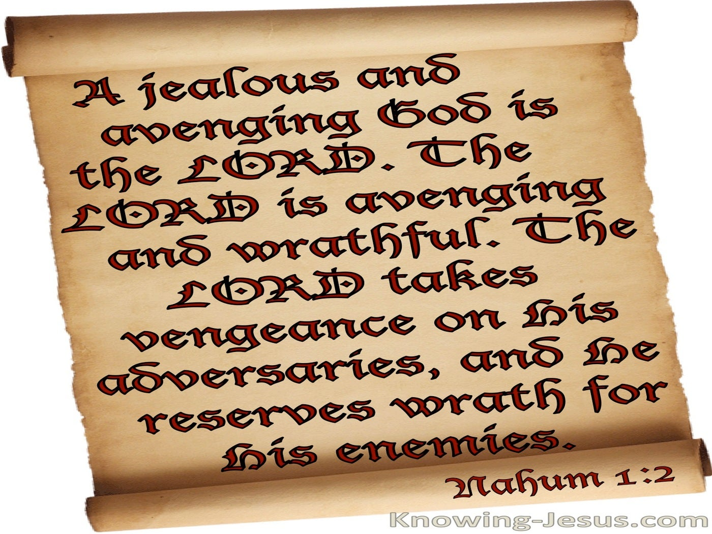 Nahum 1:2 A Jealous And Avenging God (beige)