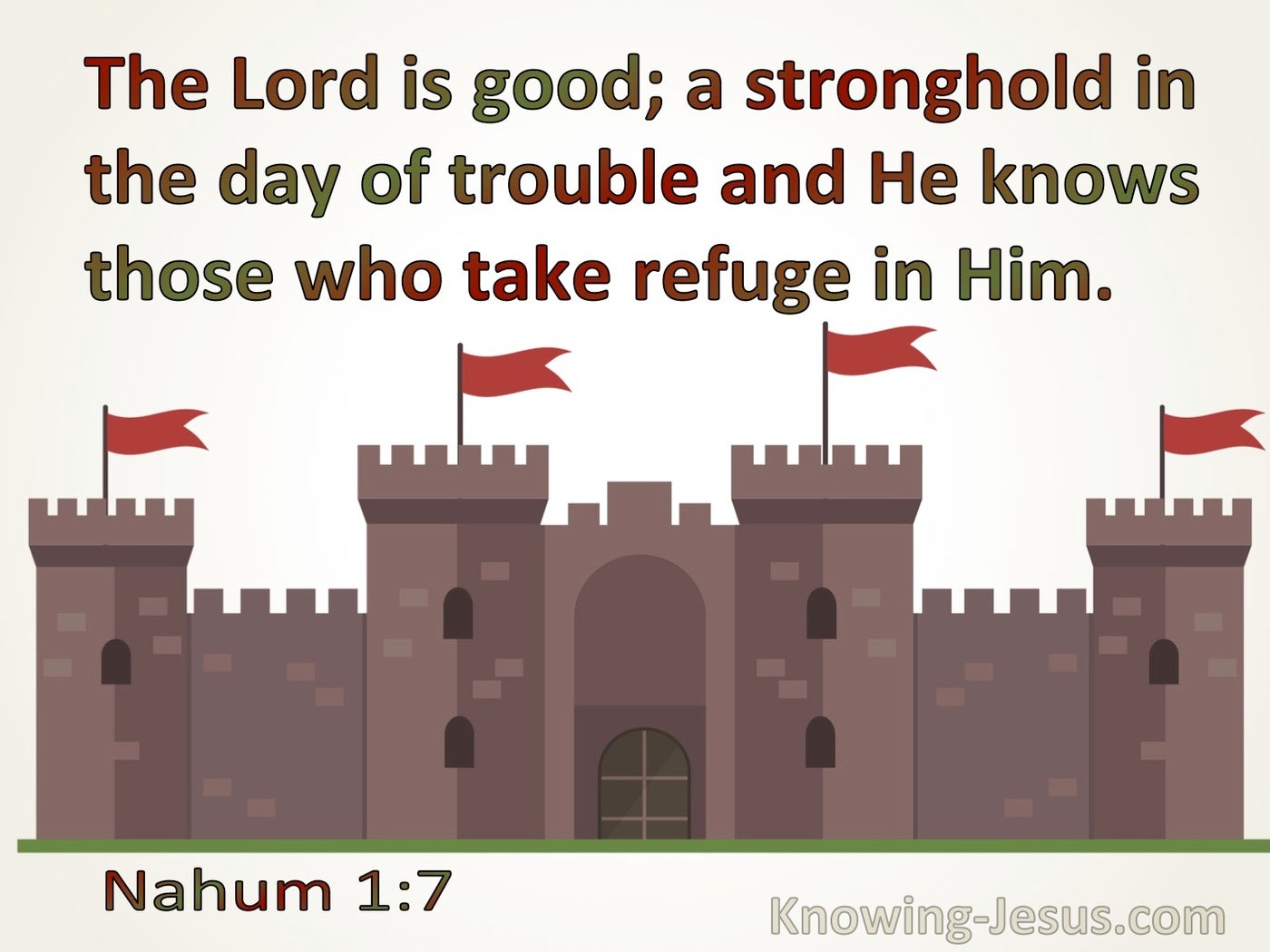 Nahum 1:7the Lord Is Good A Stronghold In The Day Of Trouble (brown)