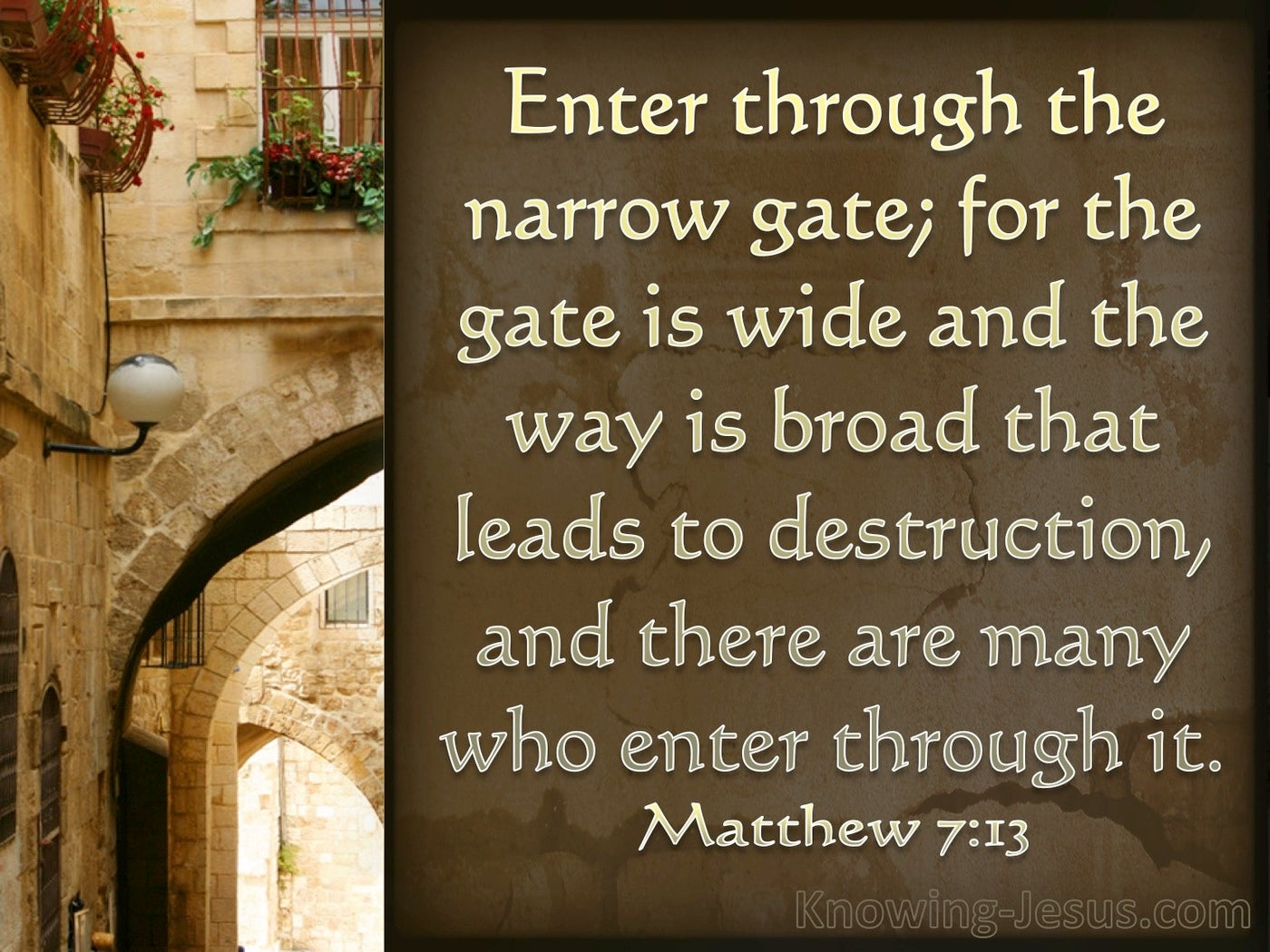 Matthew 7:13 Wide Is The Gate To Destruction (brown)