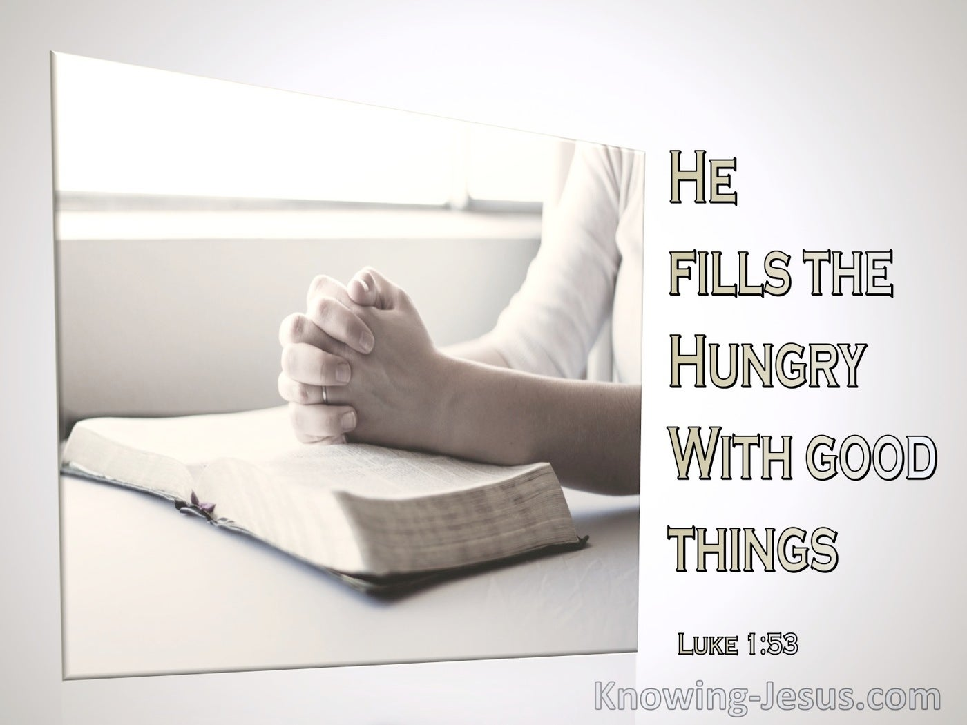 Luke 1:53 He Filled The Humgry With Good Things (beige)
