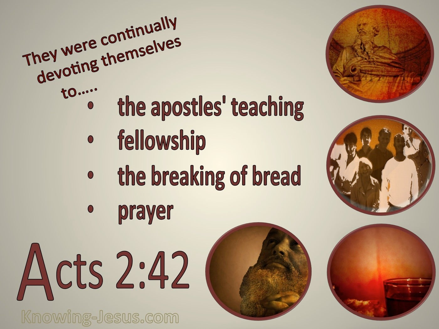 Acts 2:42 Devoted To The Apostles Teaching (beige)