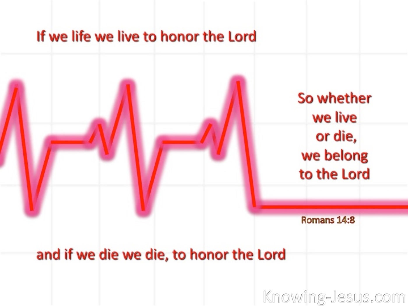 Romans 14:8 We Live And Die To The Lord (red)