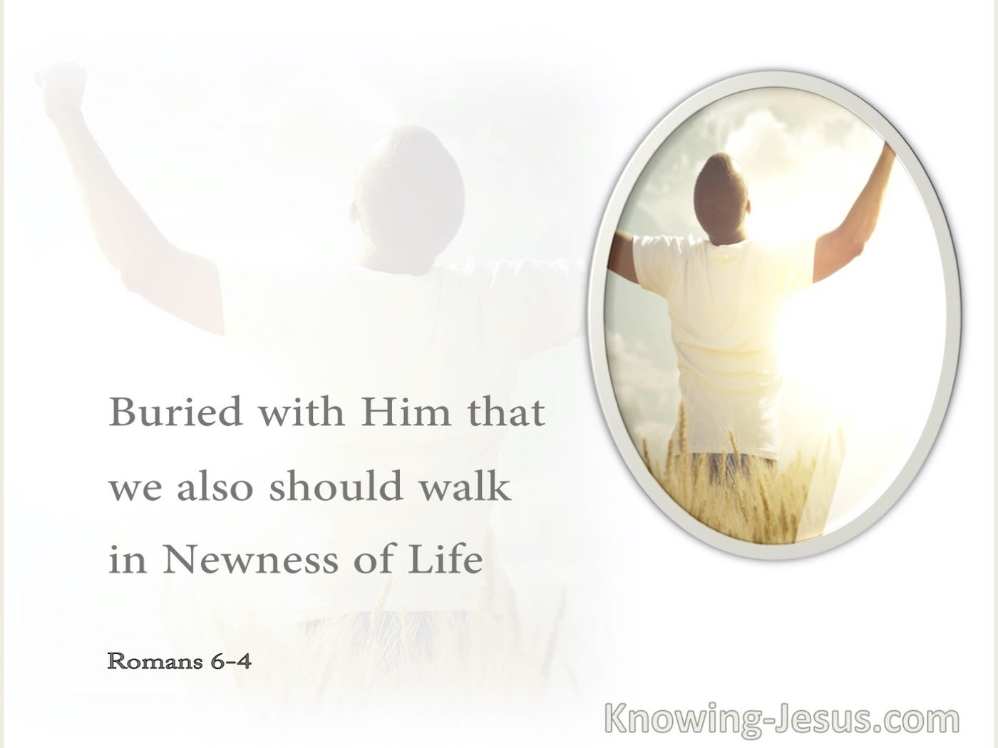 Romans 6:4 Buried With Him That We Also Should Walk In Newness Of Life (gray)