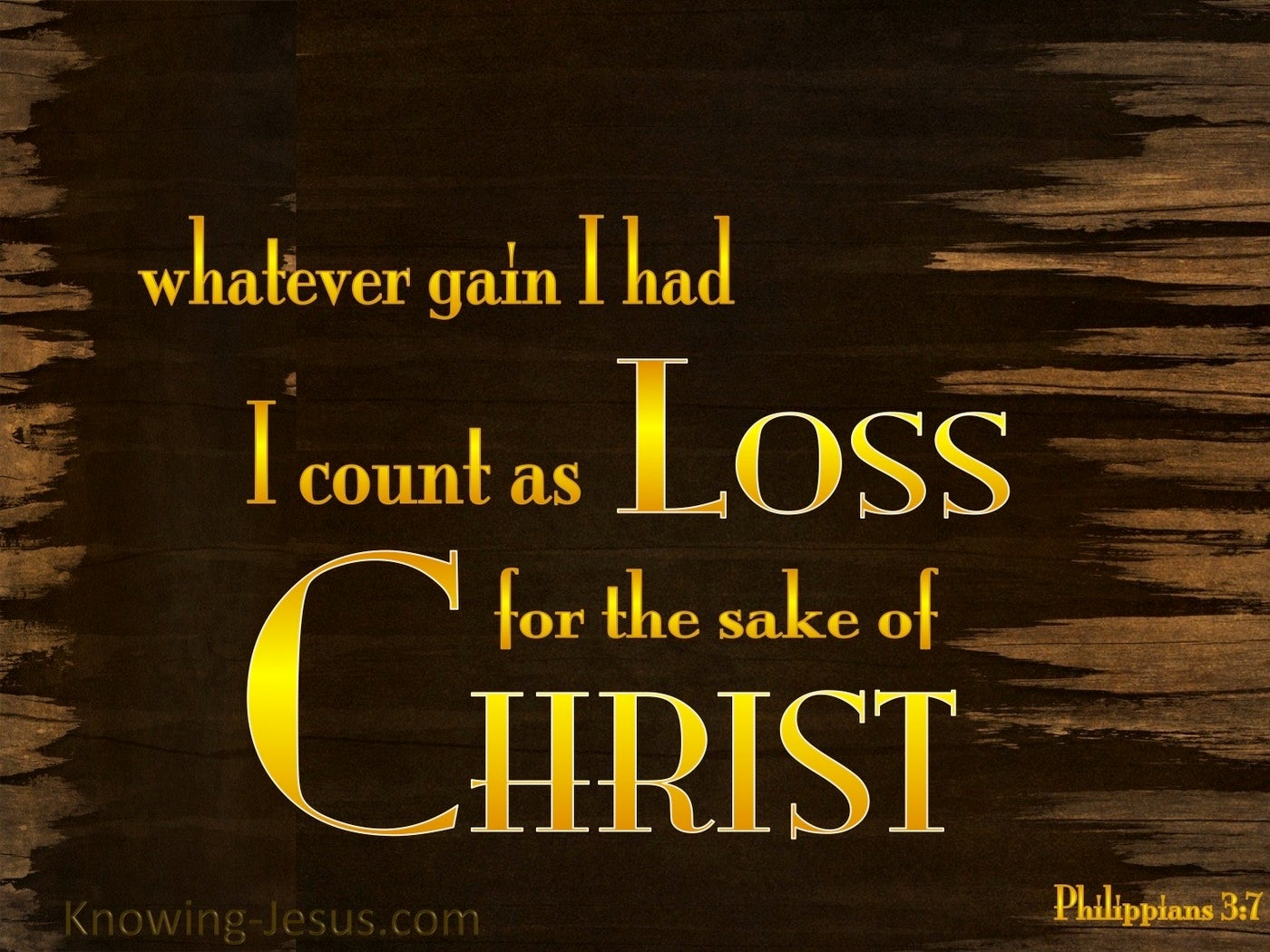 Philippians 3:7 My Gain I Count As Loss (yellow)