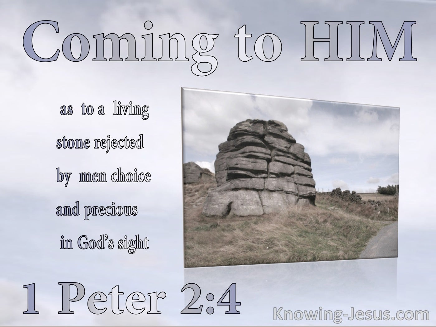 1 Peter 2:4 A Living Stone : Rejected By Men Precious To God (gray)
