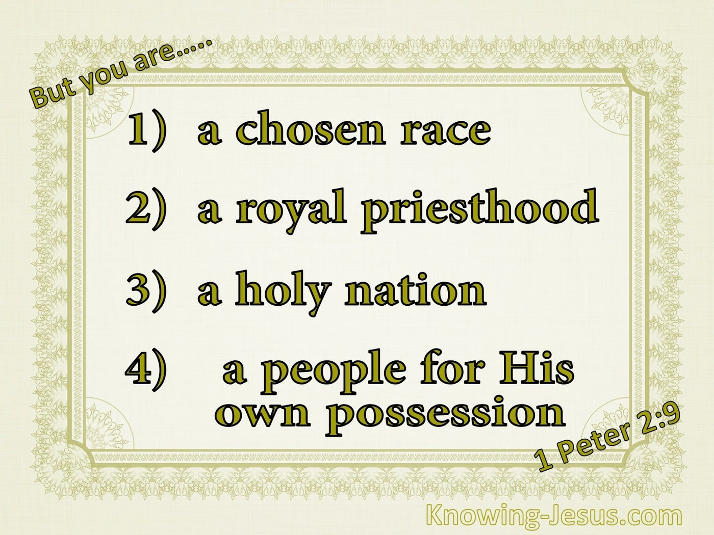 1 Peter 2:9 You Are A Chosen People (sage)
