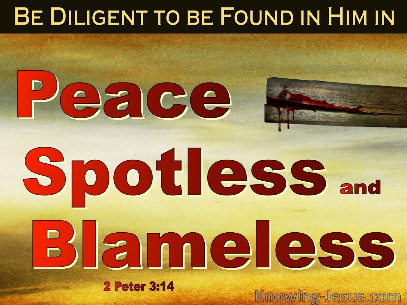 2 Peter 3:14 Be Diligent In Peace Spotless And Blameless (red)