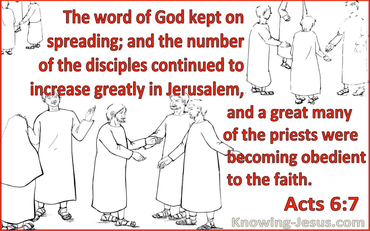 Acts 6:7 The Word Of God Kept Spreading (red)