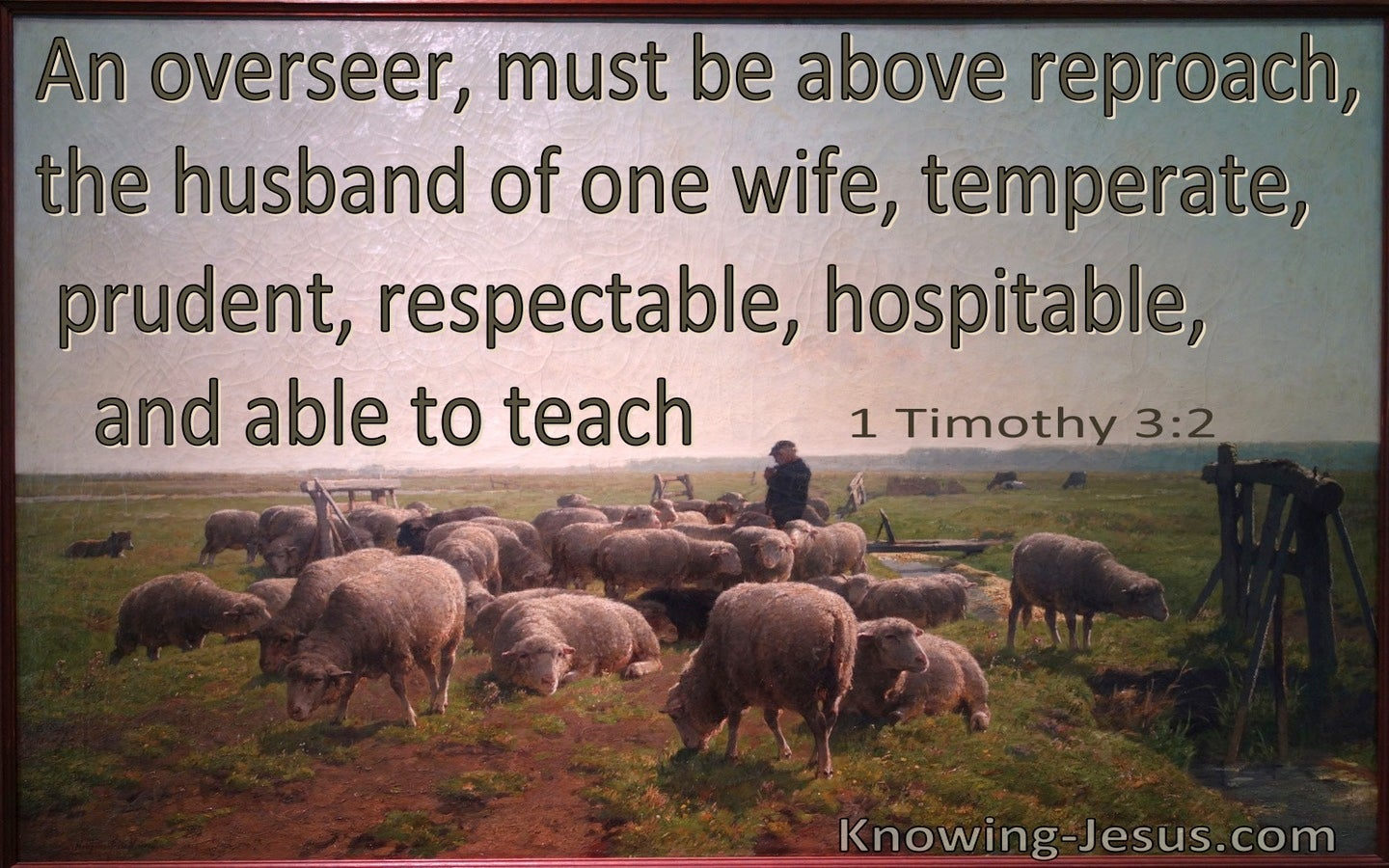 1 Timothy 3:2 Overseers Must Be Above Reproach, Temperate, Prudent, Respectable, Hospitable Able To Teach (brown)