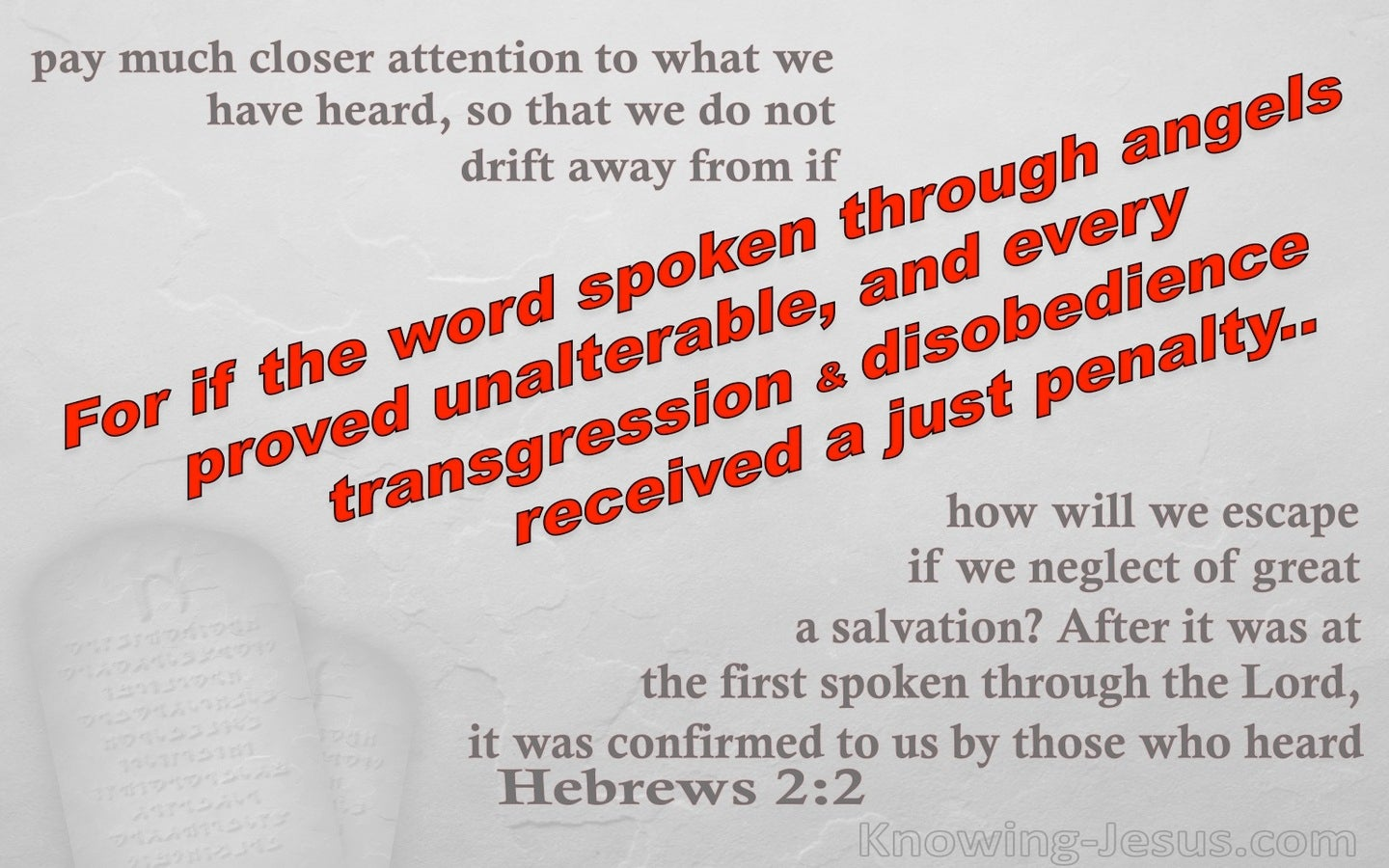Hebrews 2:2 The Word Spoken Through Angels (red)
