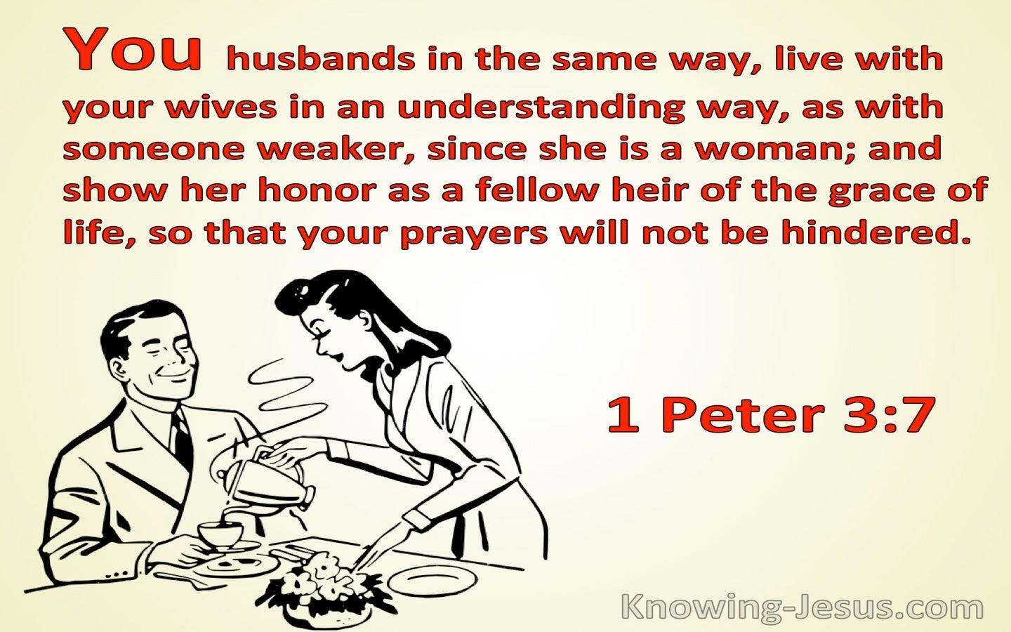 1 Peter 3:7 Husbands Live With Your Wives In An Understanding Way (red)
