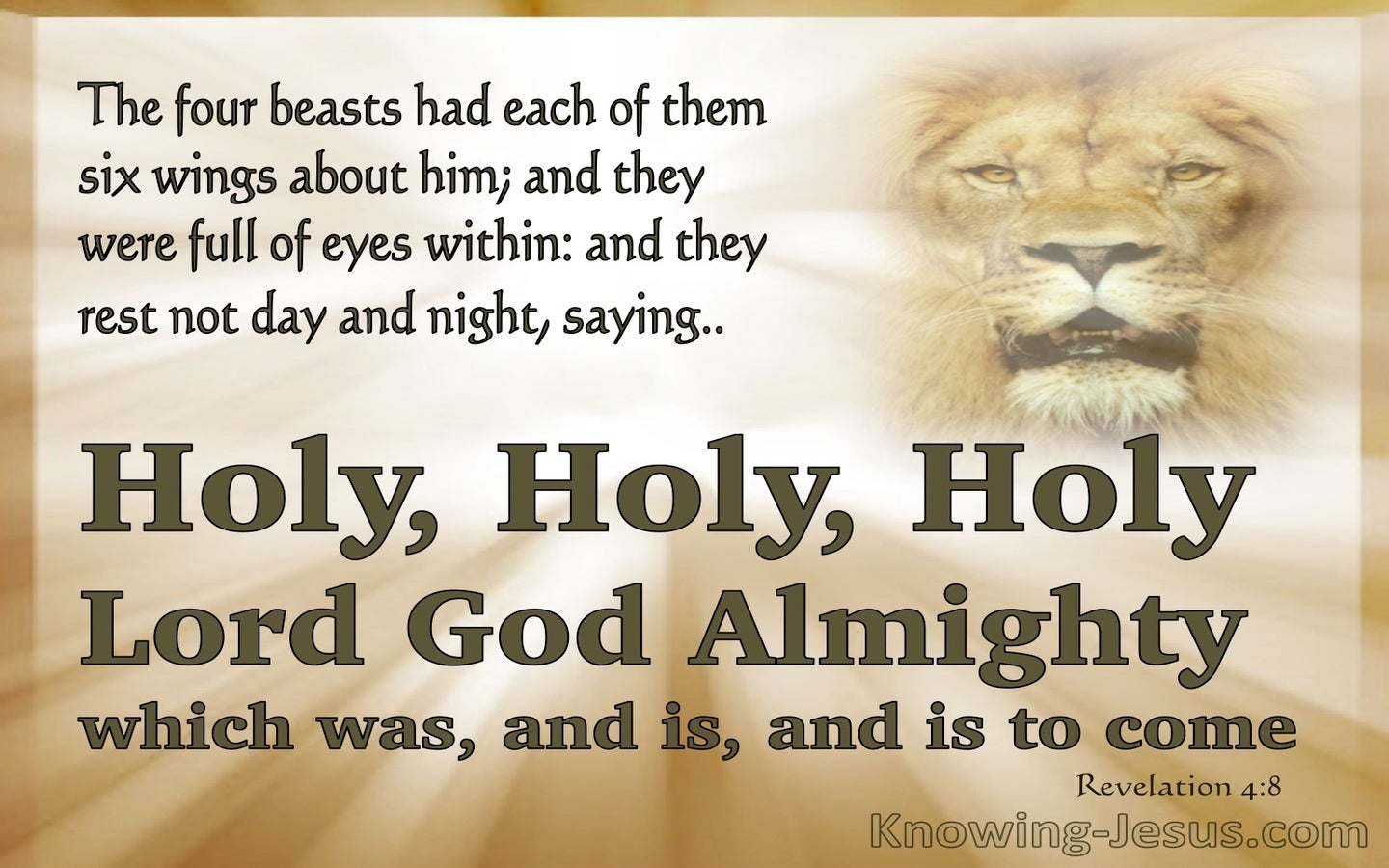 Revelation 4:8 Holy Holy Holty Is The Lord God Almighty (beige)