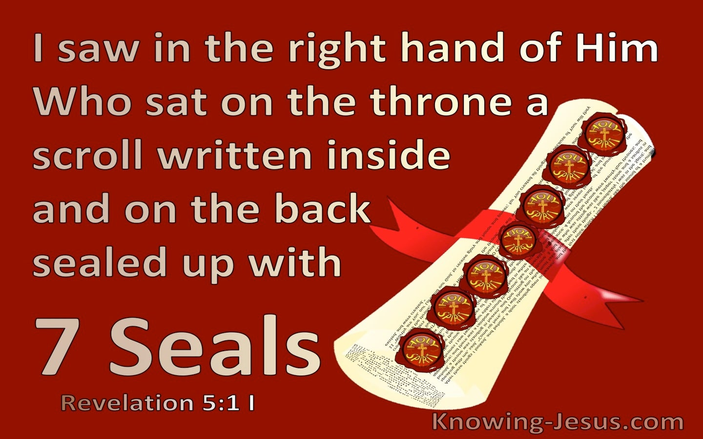 Revelation 5:1 A Scroll Written Inside and on the back (red)
