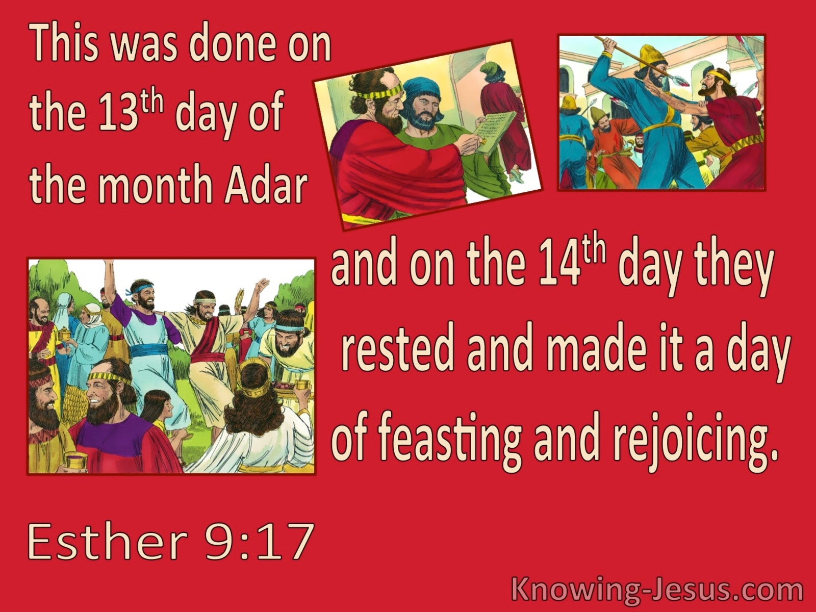 Esther 9:17 Purim On 14th Day Of Adar (red)