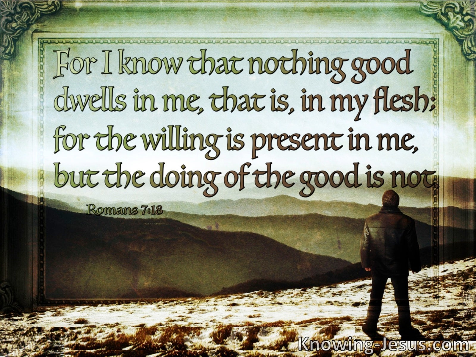 Romans 7:18 No Good Dwells In Me (brown)