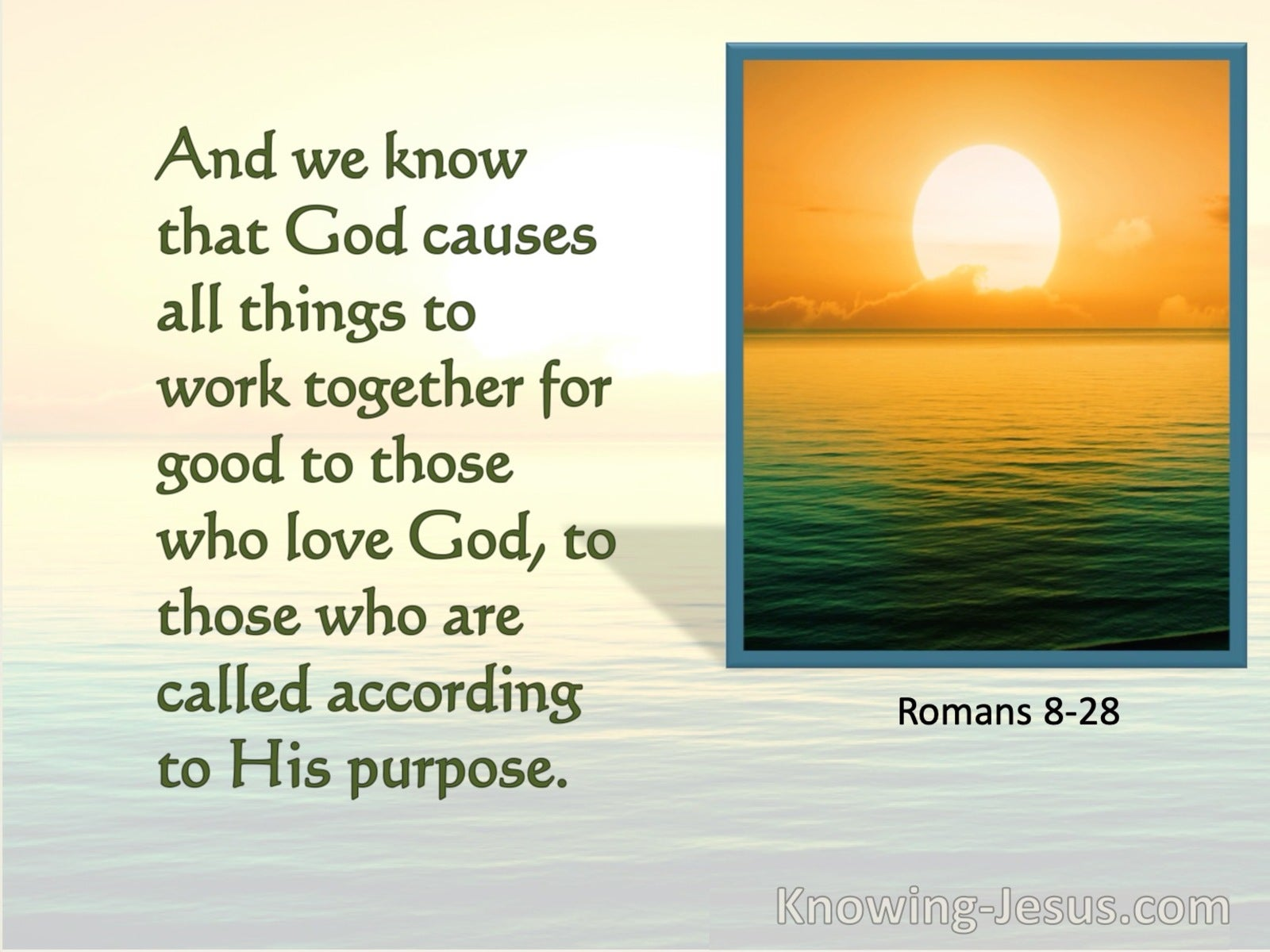 Romans 8:28 All Things Work Together For Good (green) bible