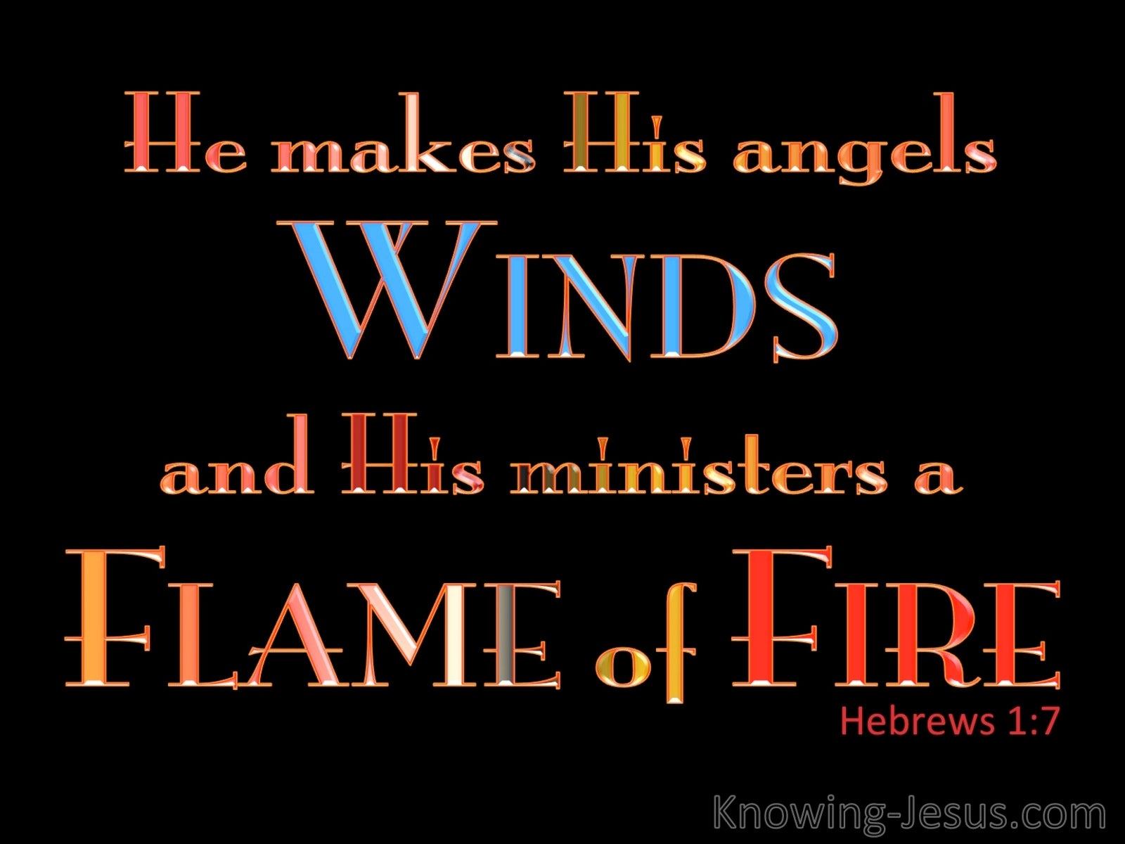 Hebrews 1:7 He Makes His Angels Winds And Flames Of Fire (black)