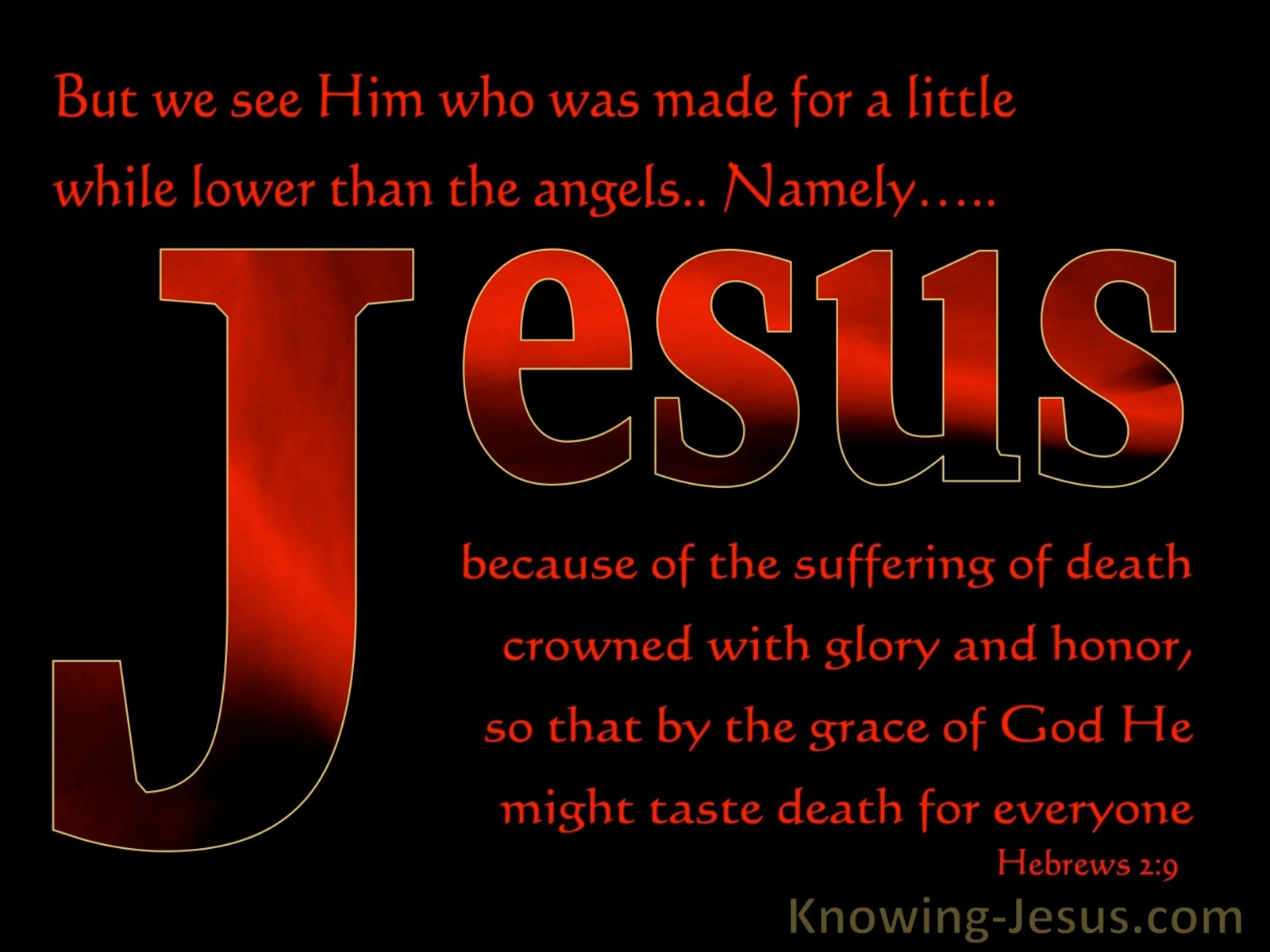 Hebrews 2:9 Jesus Crowned With Glory And Honour (black)
