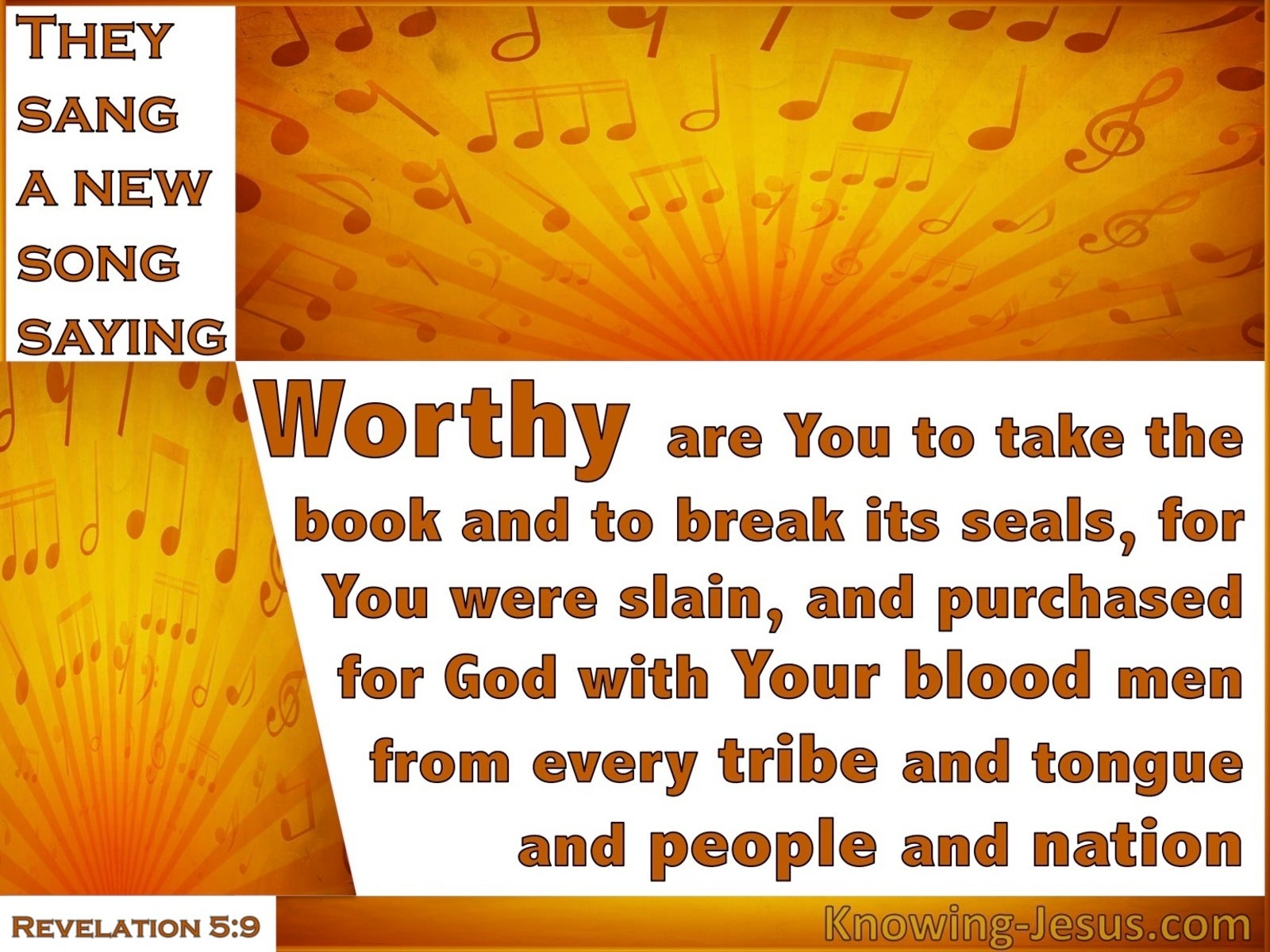 Revelation 5:9 Worthy Are You To Take The Book (white)