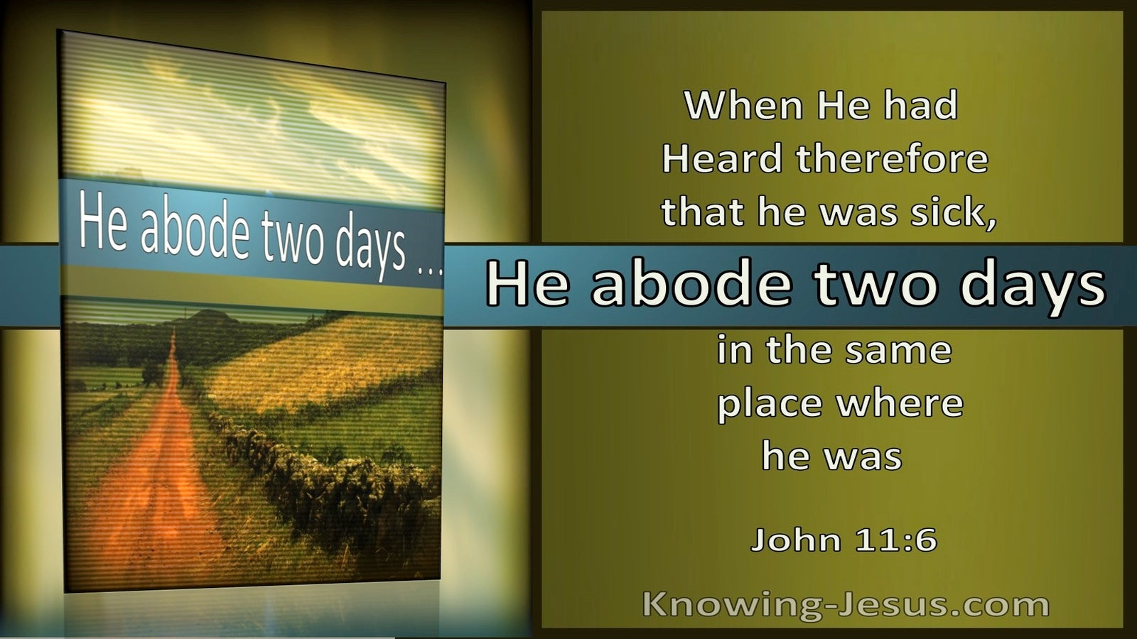 John 11:6 When He Heard He Was Sick He Abode Two Days (utmost)10:11