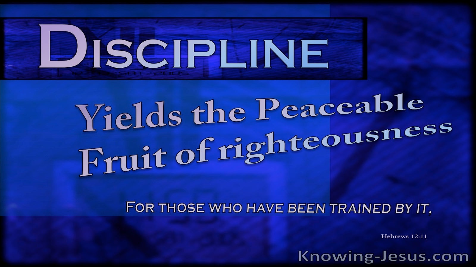 Hebrews 12:11 Discipline Yields The Fruit Of Righteousness (blue)