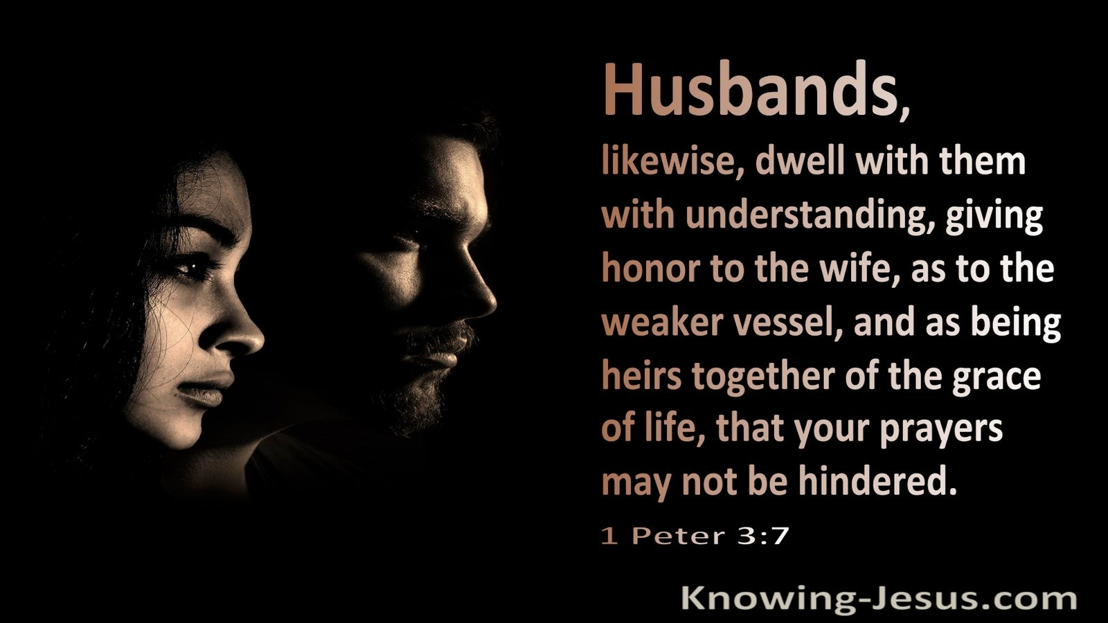 1 Peter 3:7 Husbands Dwell With Your Wife As To The Weaker Vessel (black)
