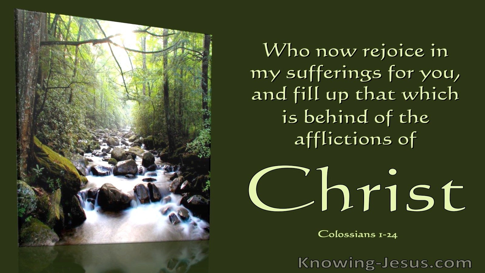 Colossians 1:24 Fill Up That Which Is Behind The Affliction Of Christ (utmost)11:09