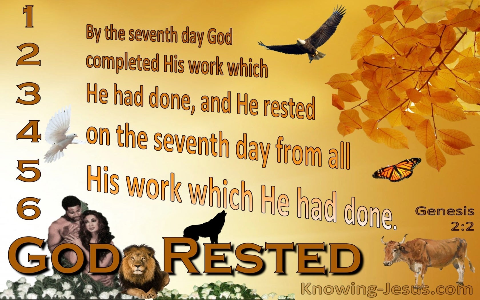 Genesis  2-2 God Rested On The Seventh Day (orange)