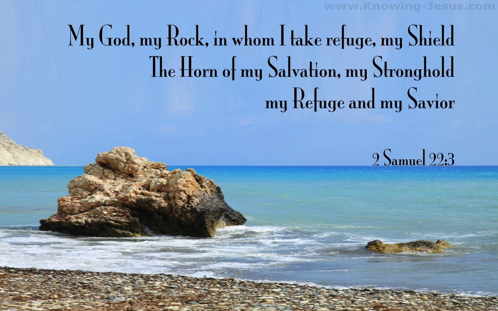 2 Samuel 22:3 My God My Rock In Whom I Take Refuge (blue)