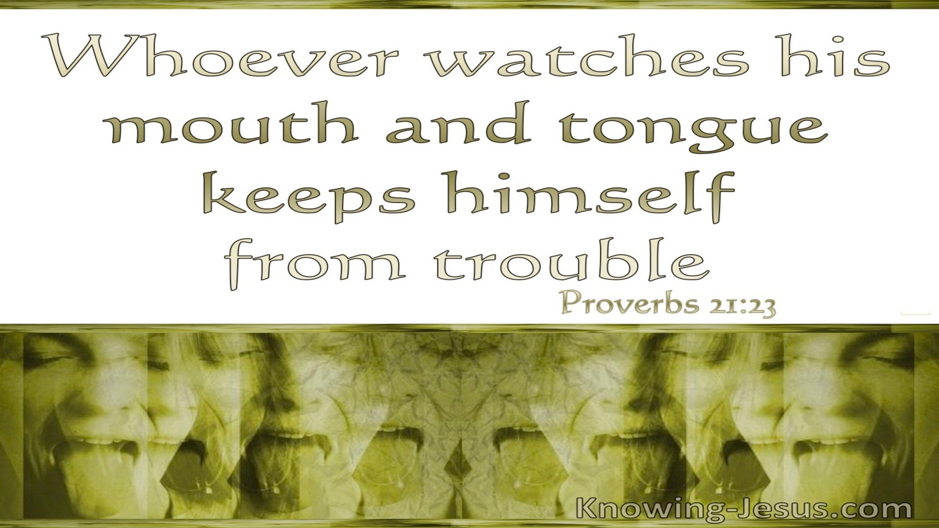 Proverbs 21:23 Whoever Watches His Mouth And Tongue (white)