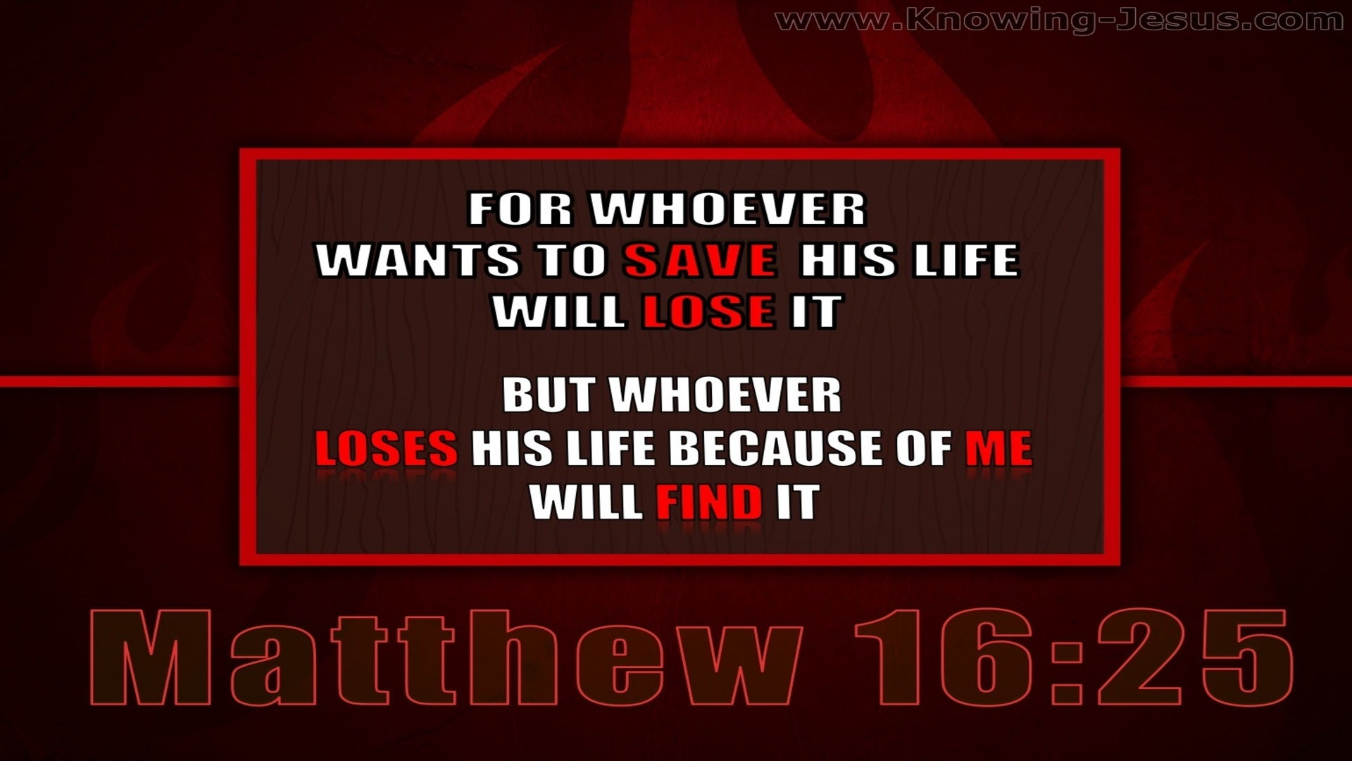 Matthew 16:25 Whoever Will Lose His Life For My Sake  (red)