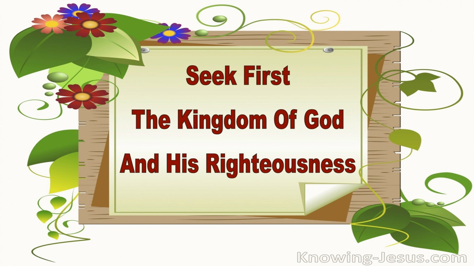 Matthew 6:33 Seek First the Kingdom (green)