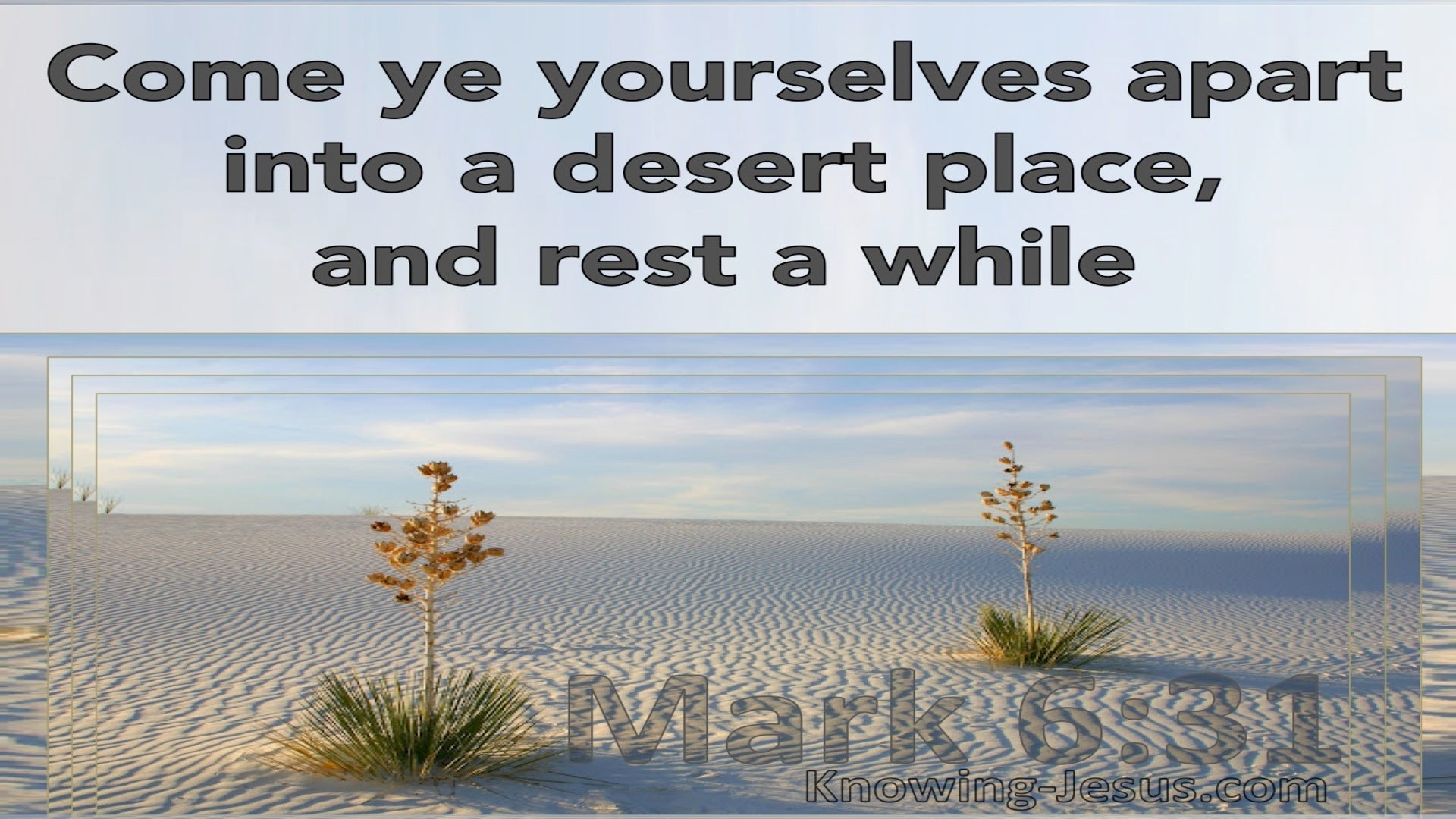 Mark 6:31 Come Ye Yourselves Apart Into A Desert Place And Rest (blue)