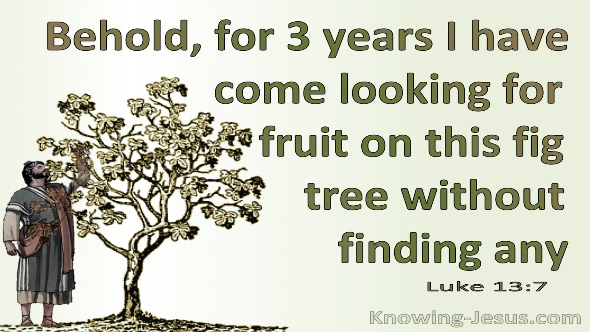 Luke 13:7 Three Years I Come Looking For Fruit On This Fig Tree And Find None (green)