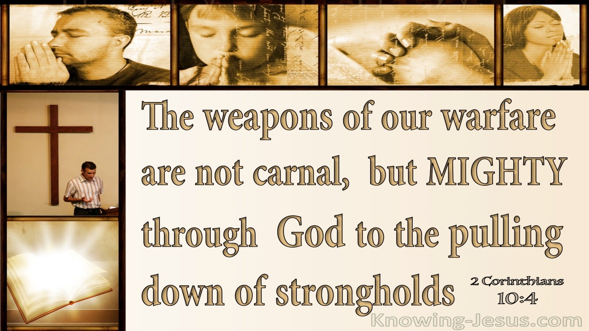 2 Corinthians 10:4 Mighty Weapons To Demolish Strongholds (beige)