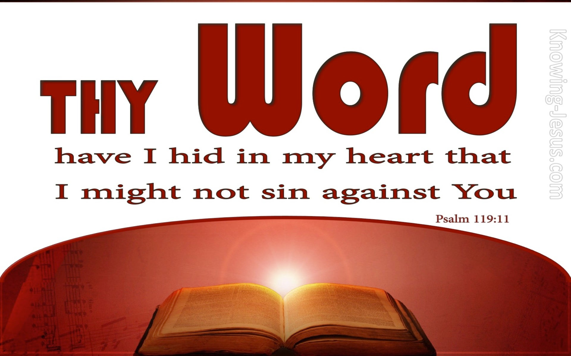 Psalm 119:11 They Word Have I Hid In My Heart (red)