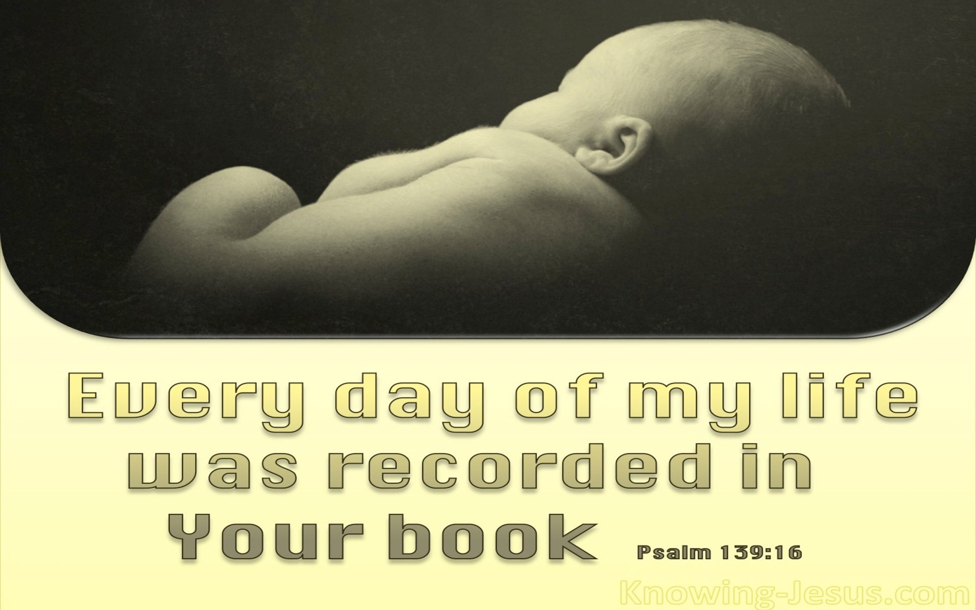 Psalm 139:16 You Saw Me Before I Was Born (yellow)