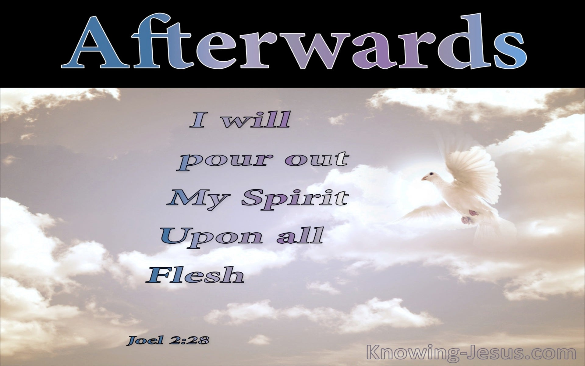 Joel 2:28 I Will Pour Our My Spirit Upon All Flesh (black)