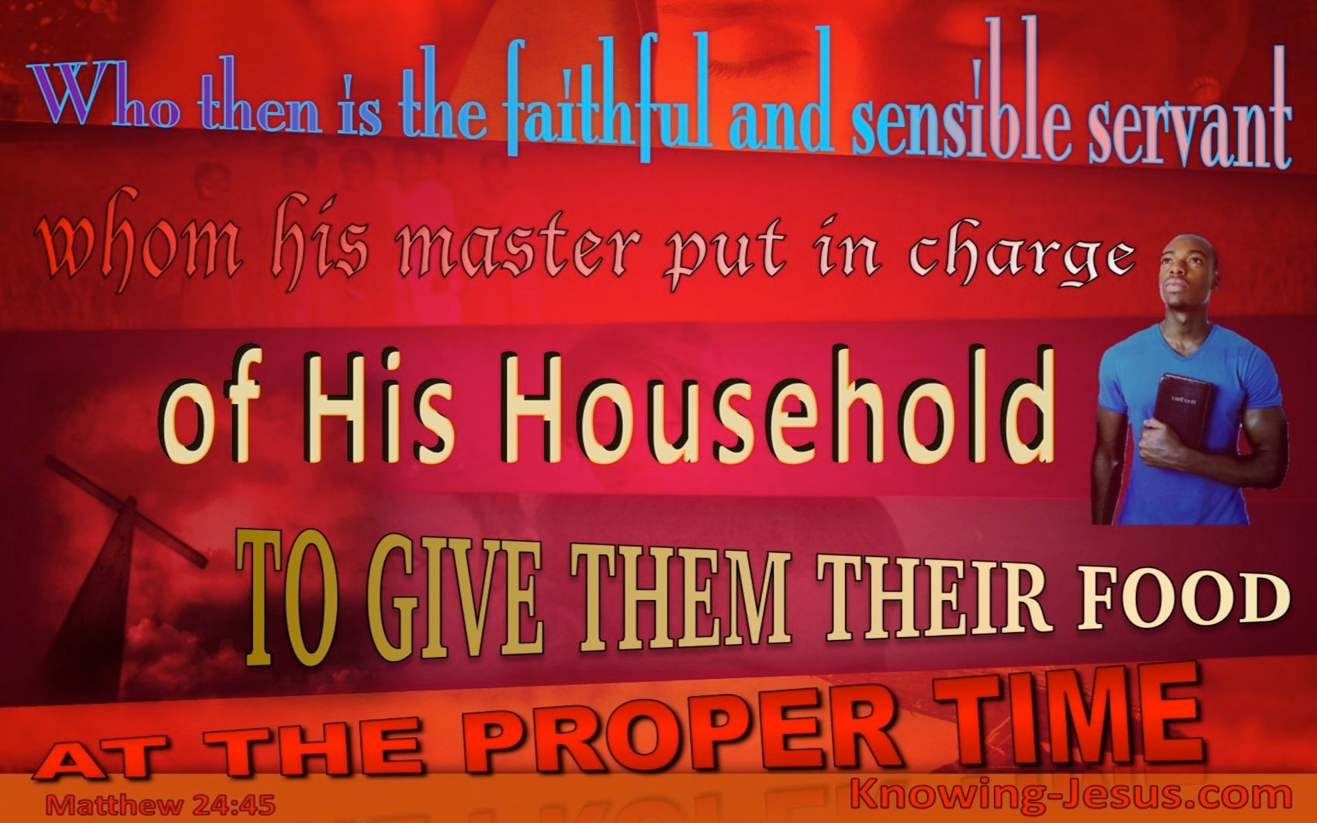 Matthew 24:45 Faithful Servant In Charge Of Household (red)