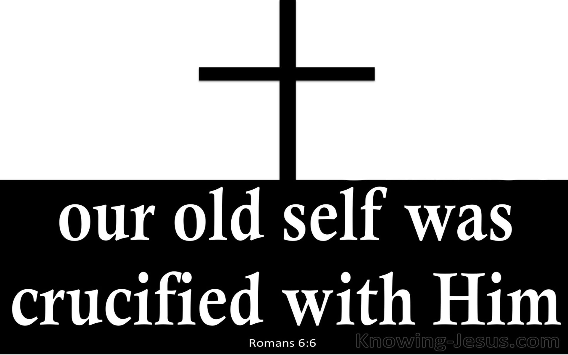 Romans 6:6 Our Old Self Was Crucified With Him (white)